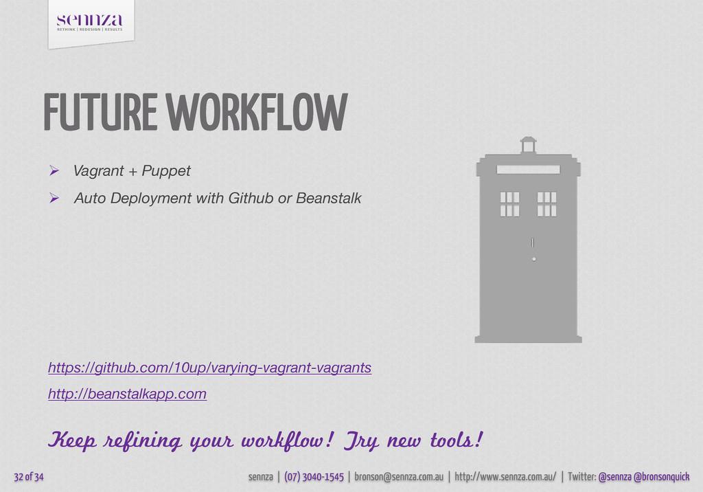 FUTURE WORKFLOW  Vagrant + Puppet  Auto Deplo...