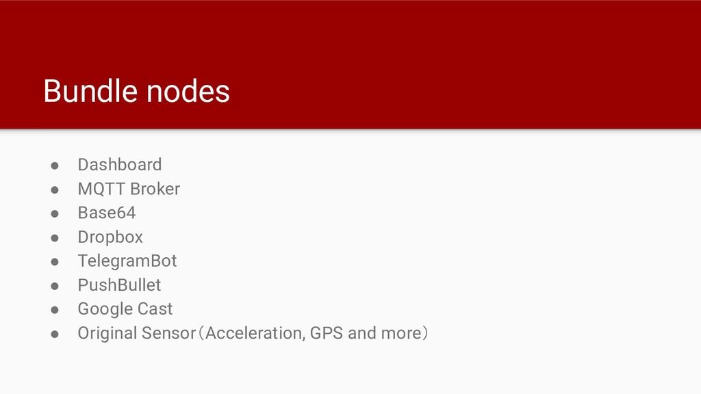 Bundle nodes ● Dashboard ● MQTT Broker ● Base64...
