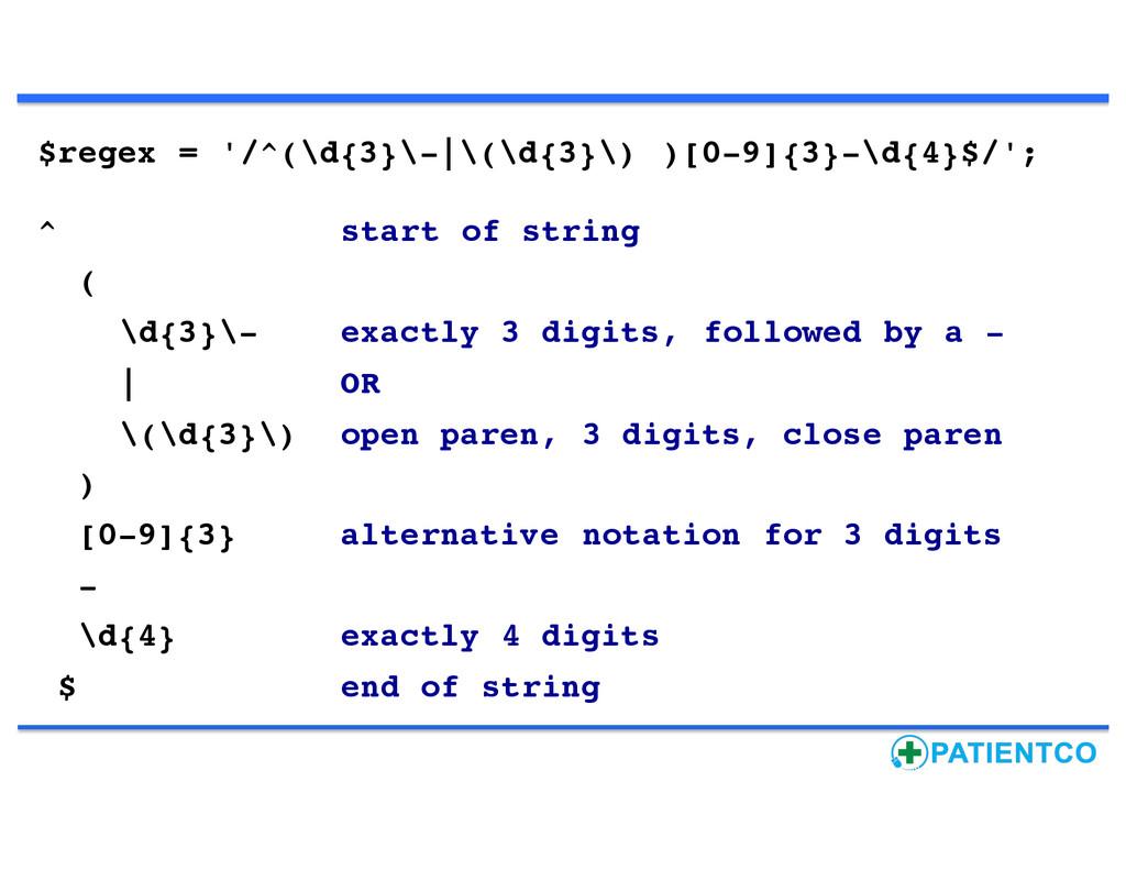 $regex = '/^(\d{3}\- \(\d{3}\) )[0-9]{3}-\d{4}$...