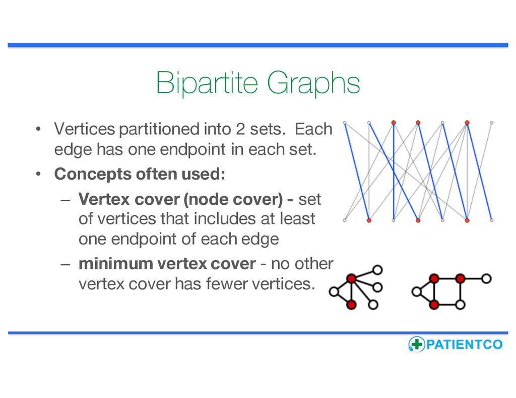 Bipartite Graphs • Vertices partitioned into 2 ...