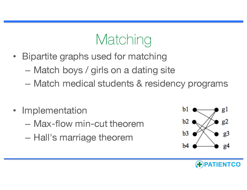 Matching • Bipartite graphs used for matching –...