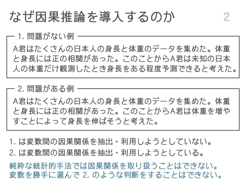 なぜ因果推論を導入するのか 2 A君はたくさんの日本人の身長と体重のデータを集めた。体重 と身...