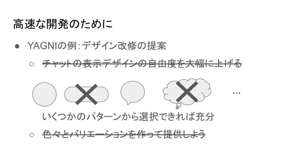 高速な開発のために ● YAGNIの例:デザイン改修の提案 ○ チャットの表示デザインの自由度...