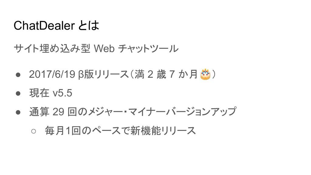 ChatDealer とは サイト埋め込み型 Web チャットツール ● 2017/6/19 ...