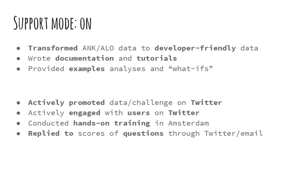 Support mode: on ● Transformed ANK/ALO data to ...