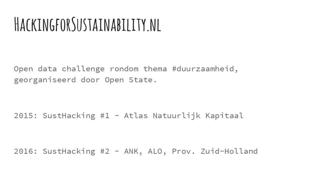 Open data challenge rondom thema #duurzaamheid,...
