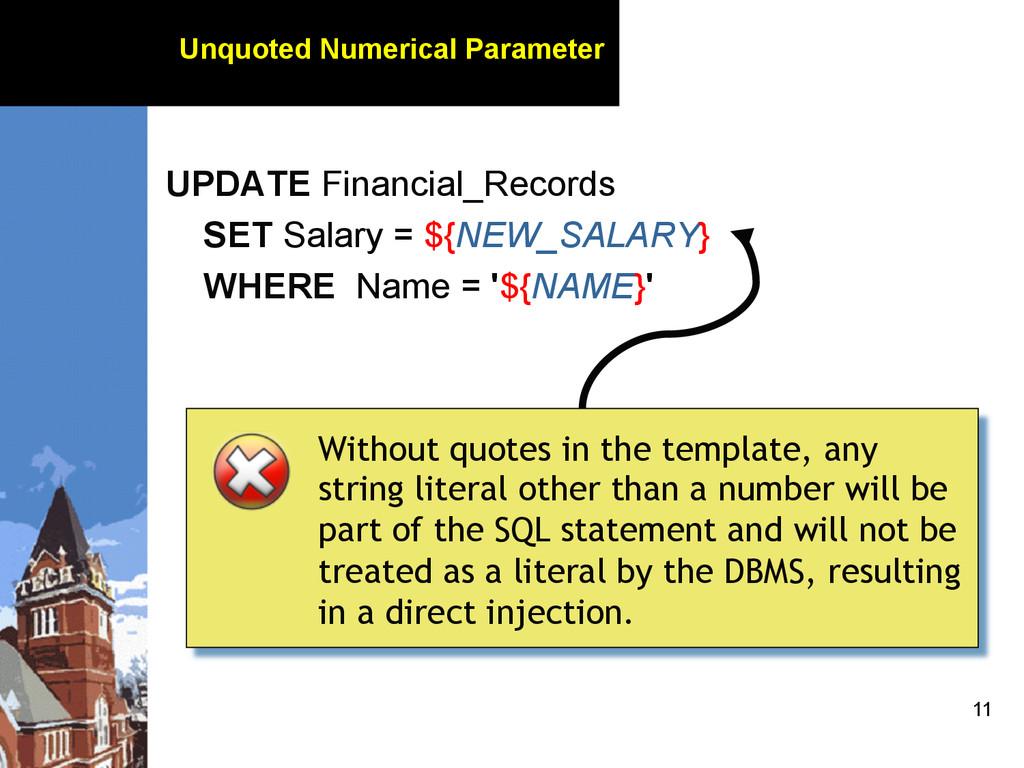 11 Unquoted Numerical Parameter UPDATE Financia...