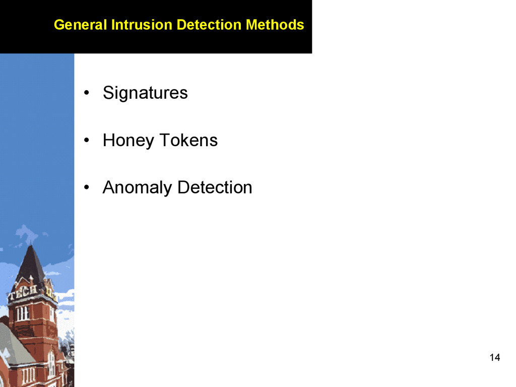 14 General Intrusion Detection Methods • Signa...