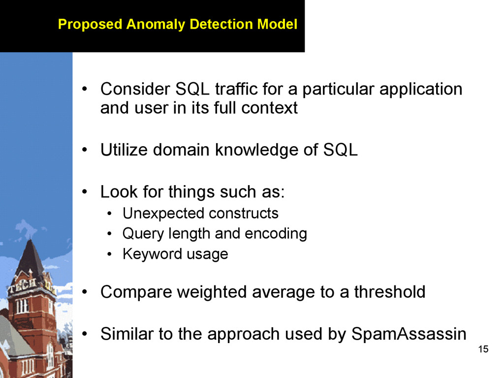 15 Proposed Anomaly Detection Model • Consider...