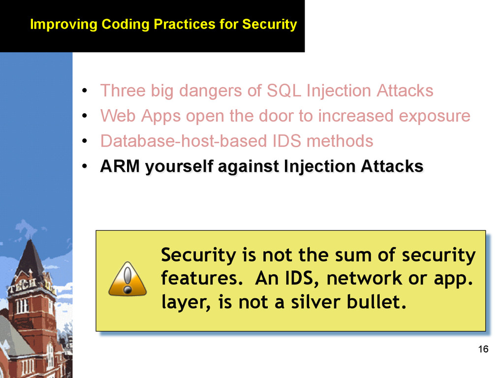 16 Improving Coding Practices for Security • T...