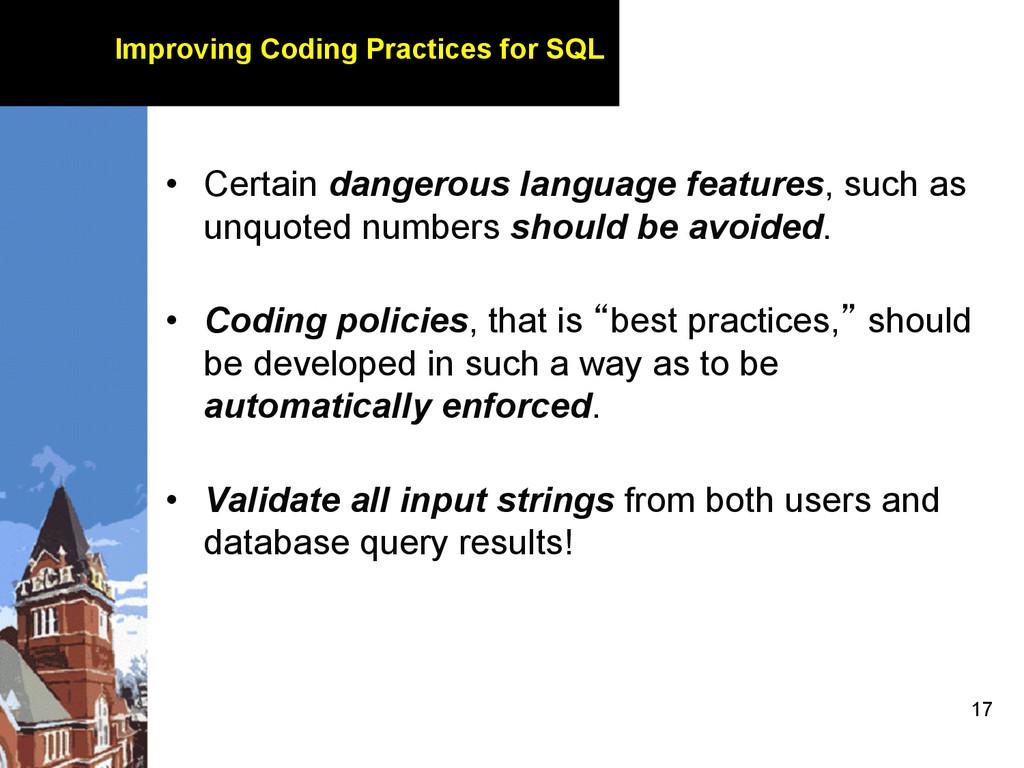 17 Improving Coding Practices for SQL • Certai...