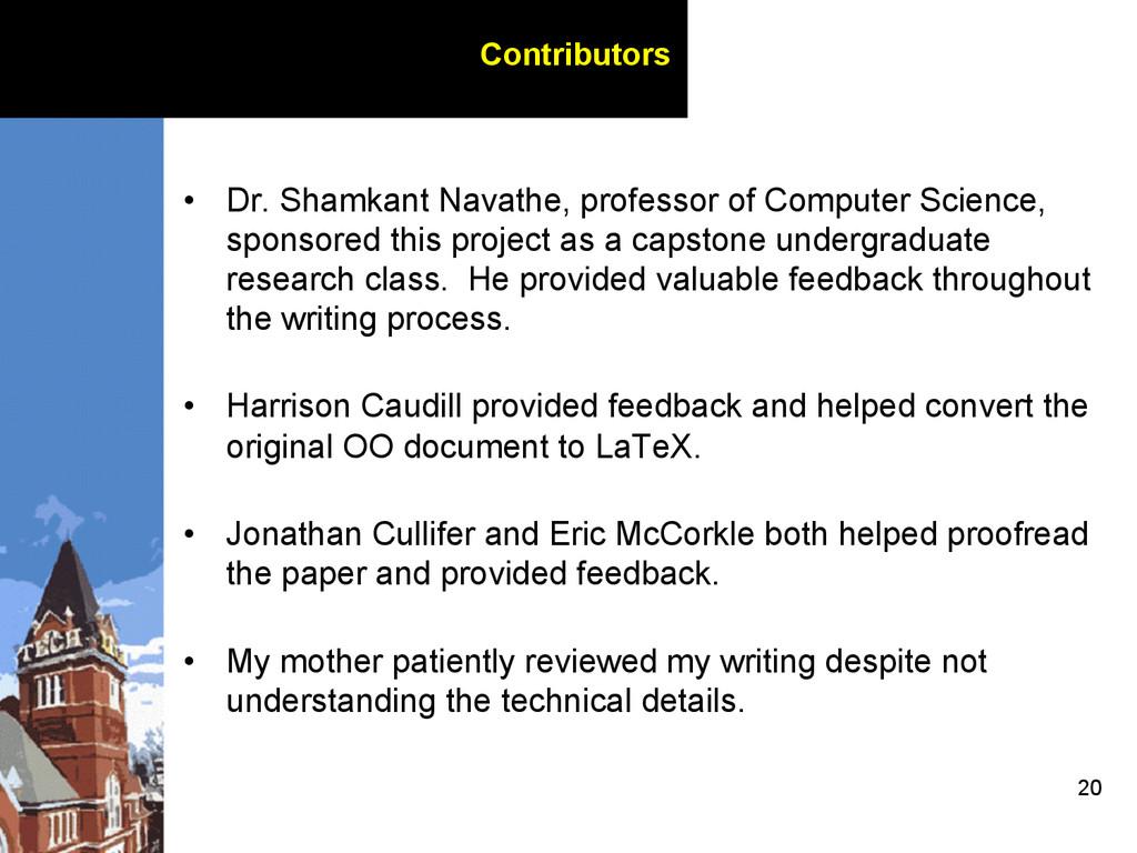20 Contributors • Dr. Shamkant Navathe, profes...