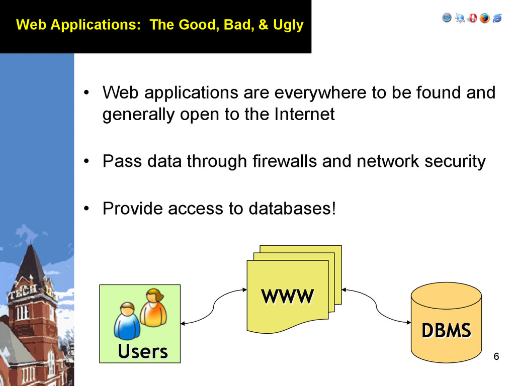 6 Web Applications: The Good, Bad, & Ugly • We...
