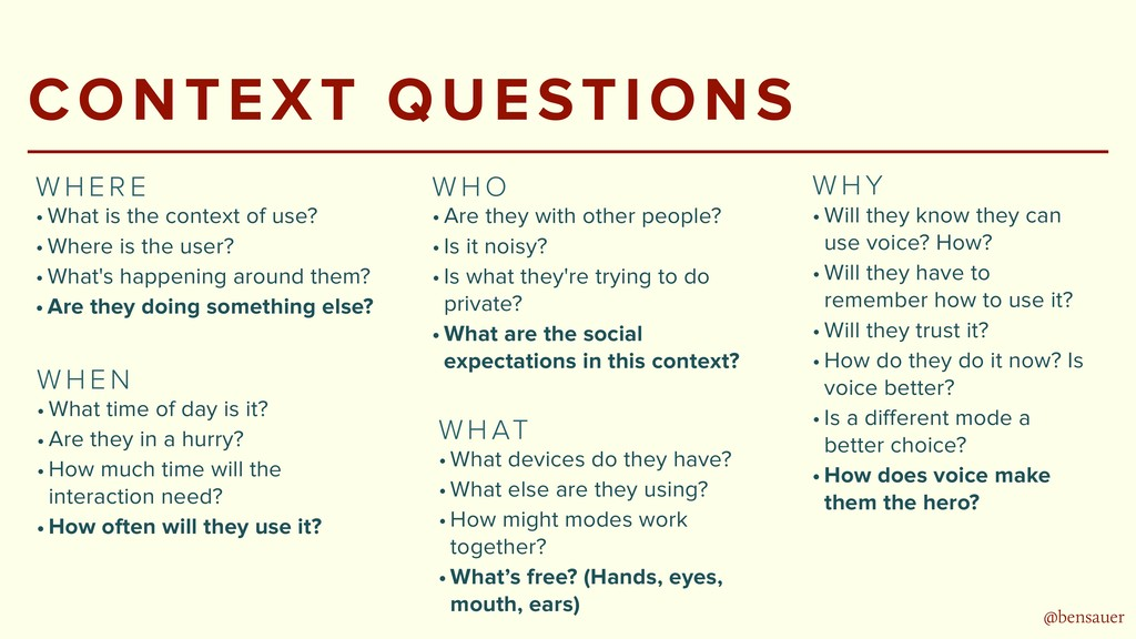 @bensauer CONTEXT QUESTIONS • What is the conte...