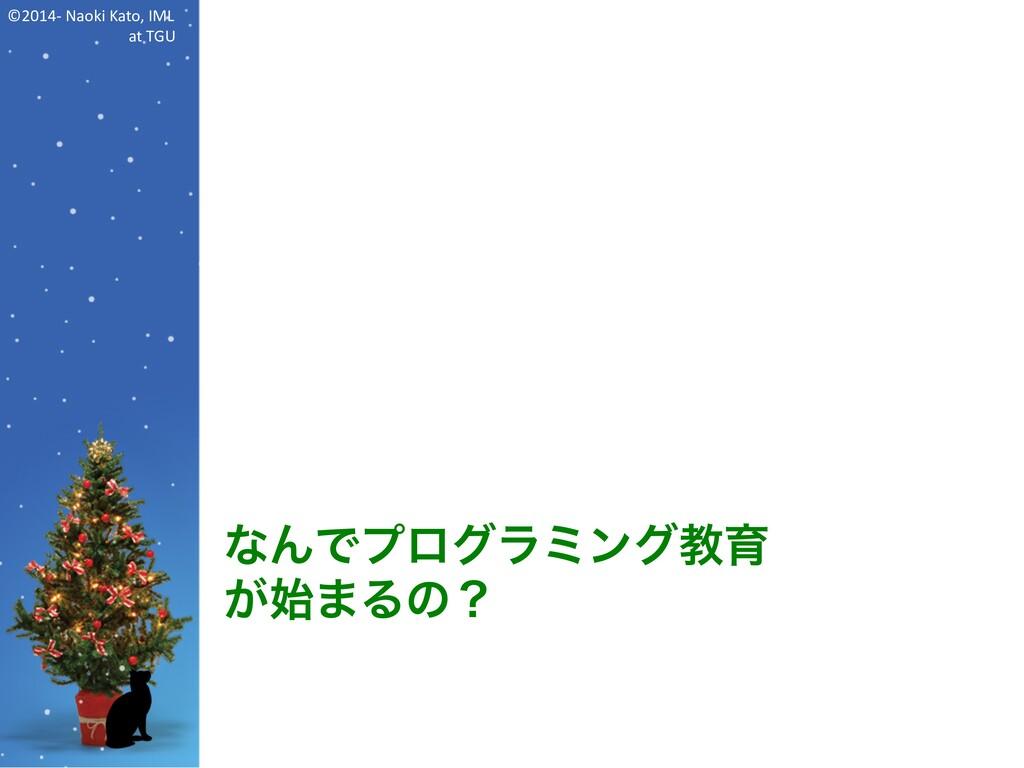 ©2014- Naoki Kato, IML at TGU なんでプログラミング教育 が始まる...