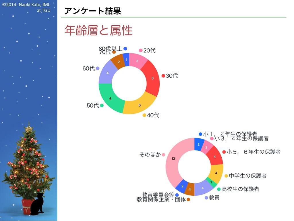 ©2014- Naoki Kato, IML at TGU アンケート結果 年齢層と属性