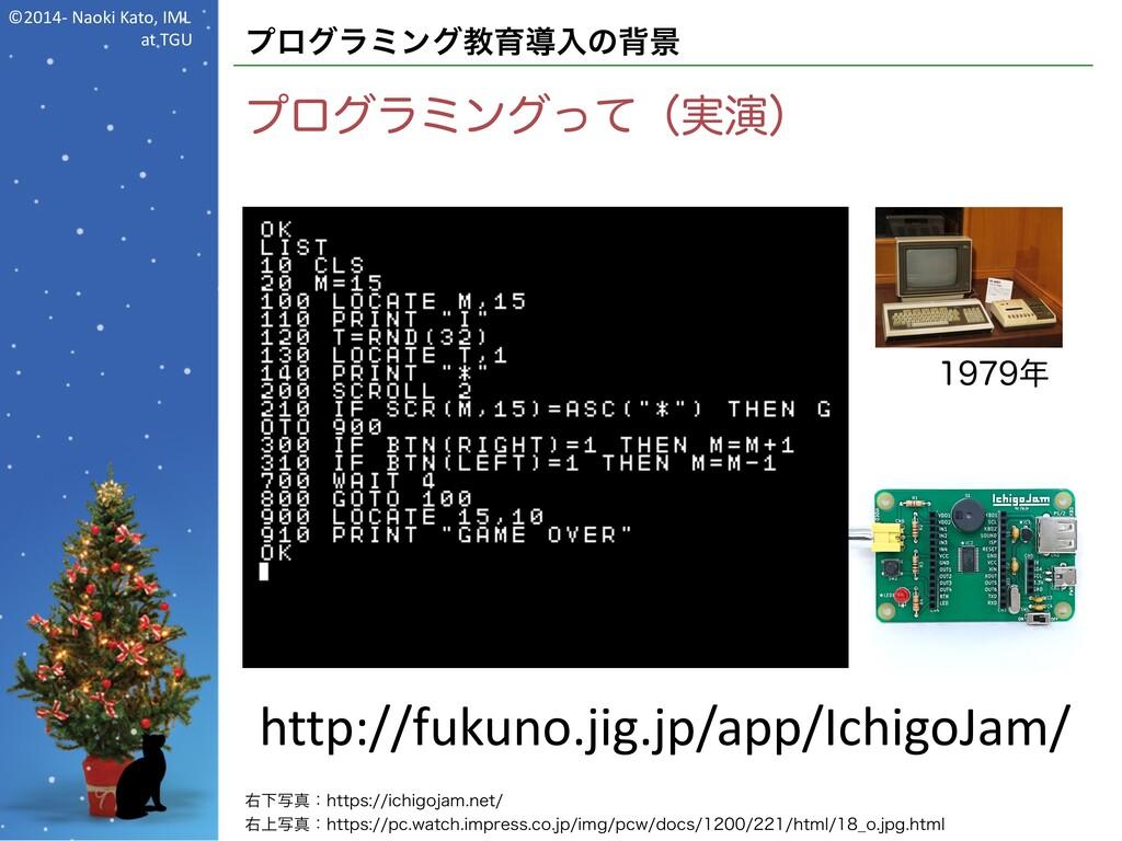 ©2014- Naoki Kato, IML at TGU プログラミング教育導入の背景 プロ...