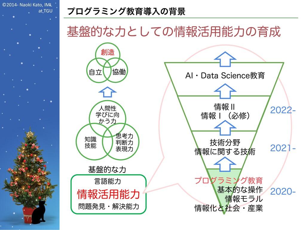 ©2014- Naoki Kato, IML at TGU プログラミング教育導入の背景 基盤...