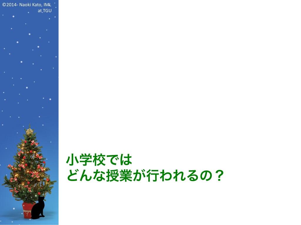 ©2014- Naoki Kato, IML at TGU 小学校では どんな授業が行われるの?