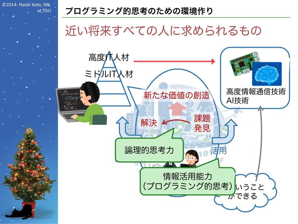 ©2014- Naoki Kato, IML at TGU プログラミング的思考のための環境作...
