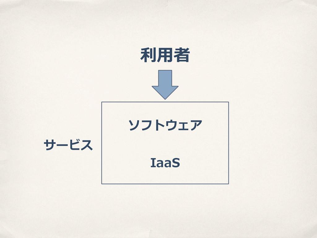 ソフトウェア IaaS 利利⽤用者 サービス
