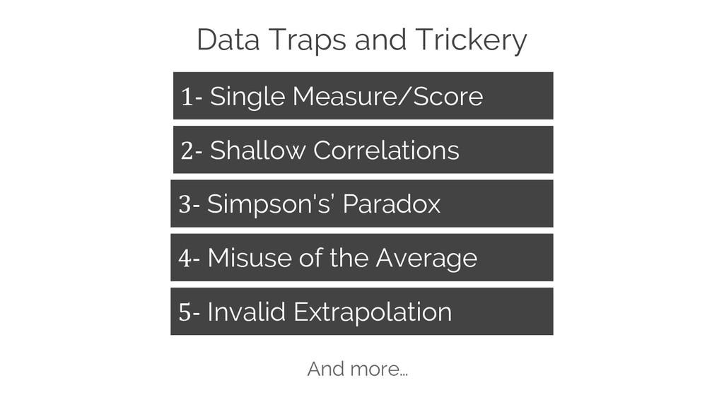 Data Traps and Trickery 1- Single Measure/Score...