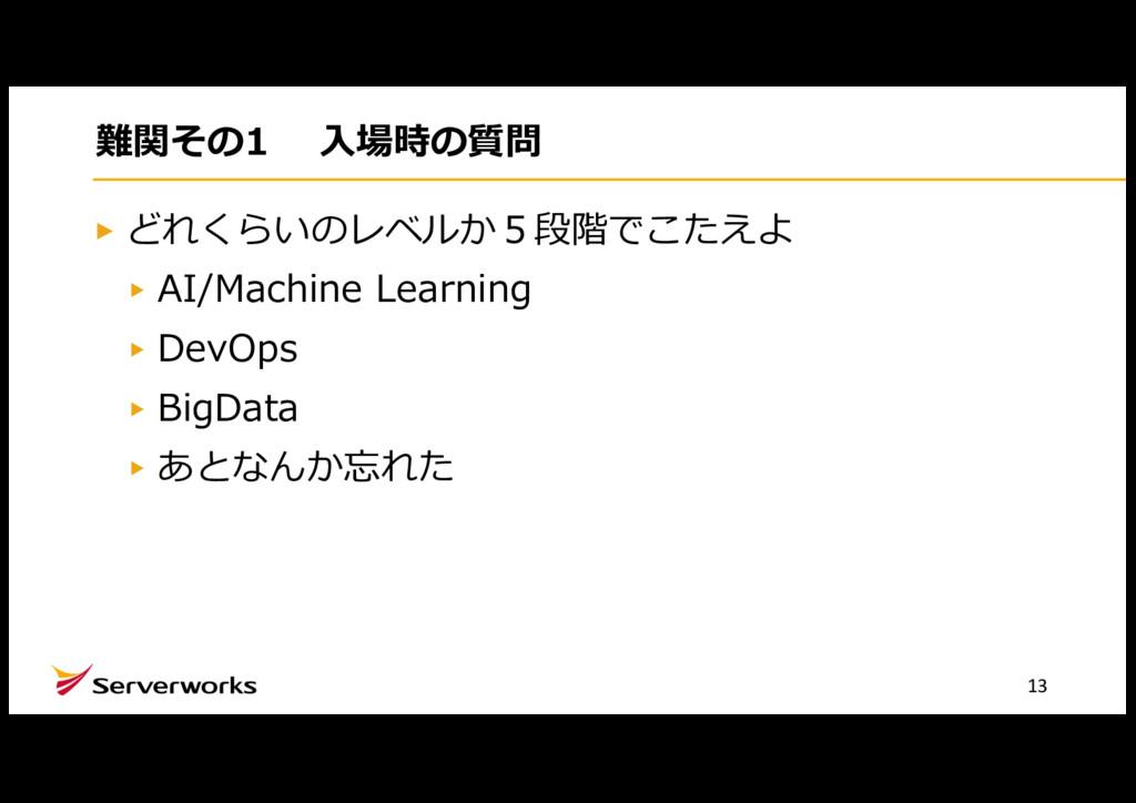 難関その1 ⼊場時の質問 どれくらいのレベルか5段階でこたえよ AI/Machine Lear...