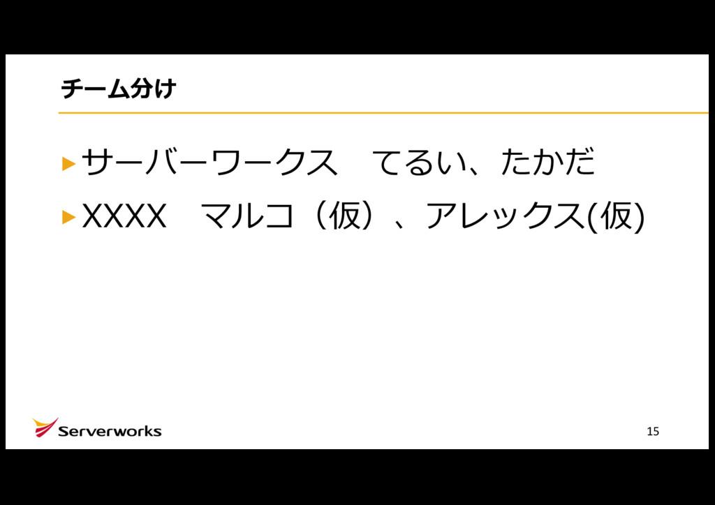 チーム分け サーバーワークス てるい、たかだ XXXX マルコ(仮)、アレックス(仮) 15