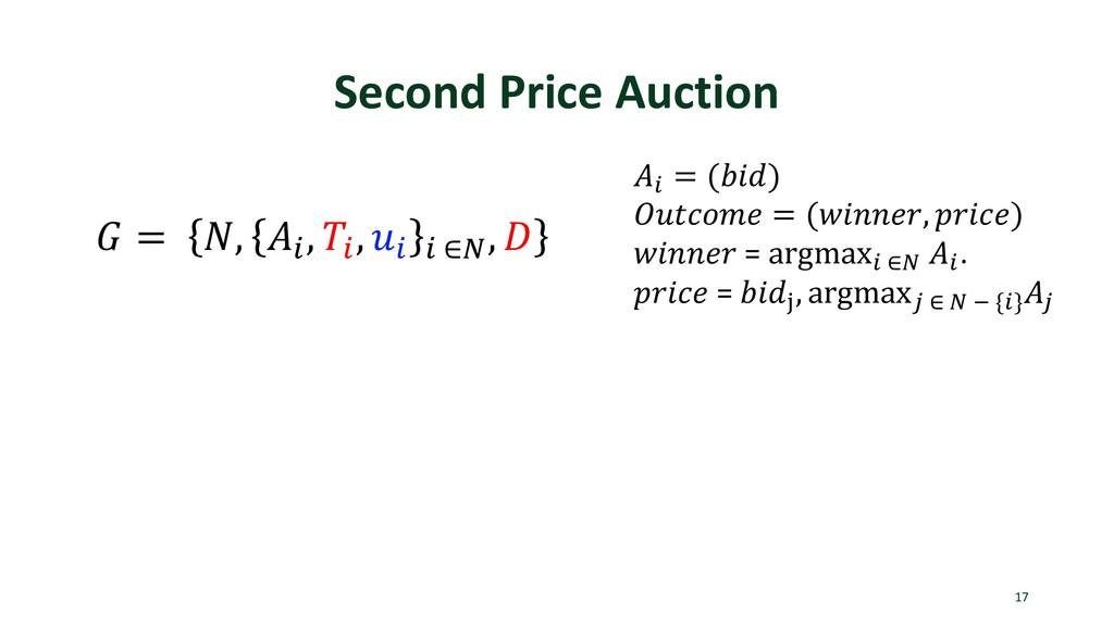 Second Price Auction 17  = , . , . , . . ∈1 ,  ...