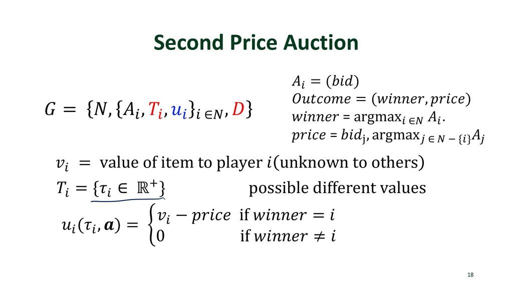 Second Price Auction 18  = , . , . , . . ∈1 ,  ...