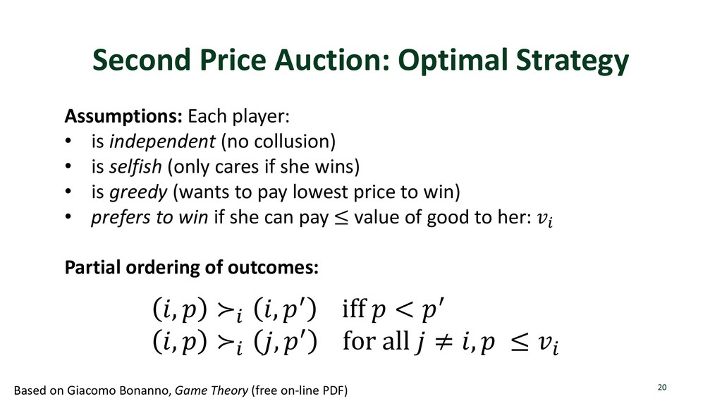Second Price Auction: Optimal Strategy 20 Assum...