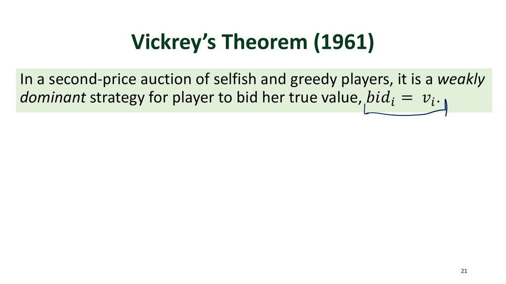 Vickrey's Theorem (1961) In a second-price auct...