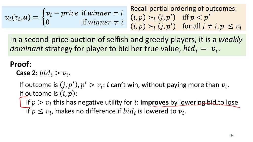 Vickrey's Theorem In a second-price auction of ...