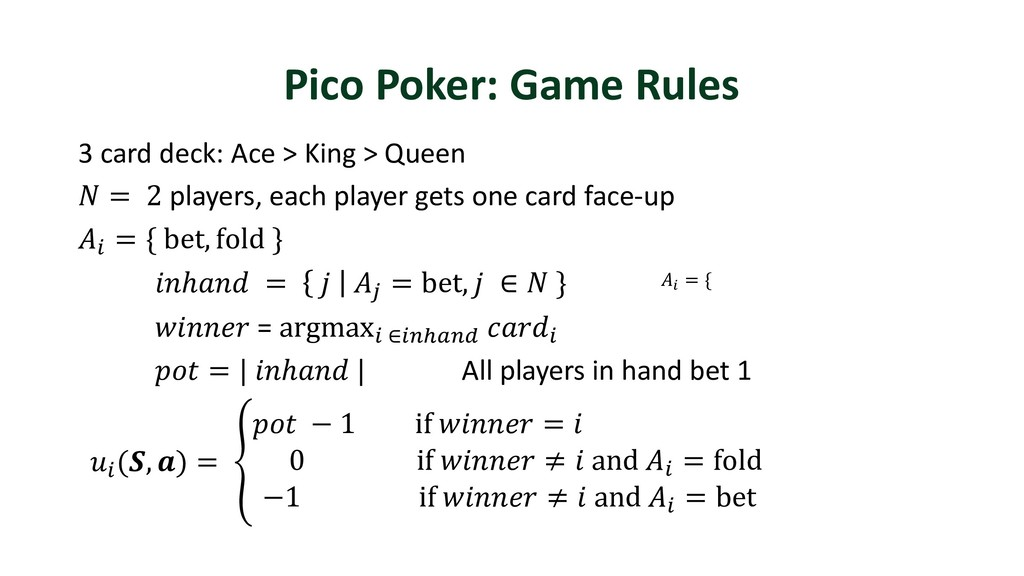 Pico Poker: Game Rules 3 card deck: Ace > King ...