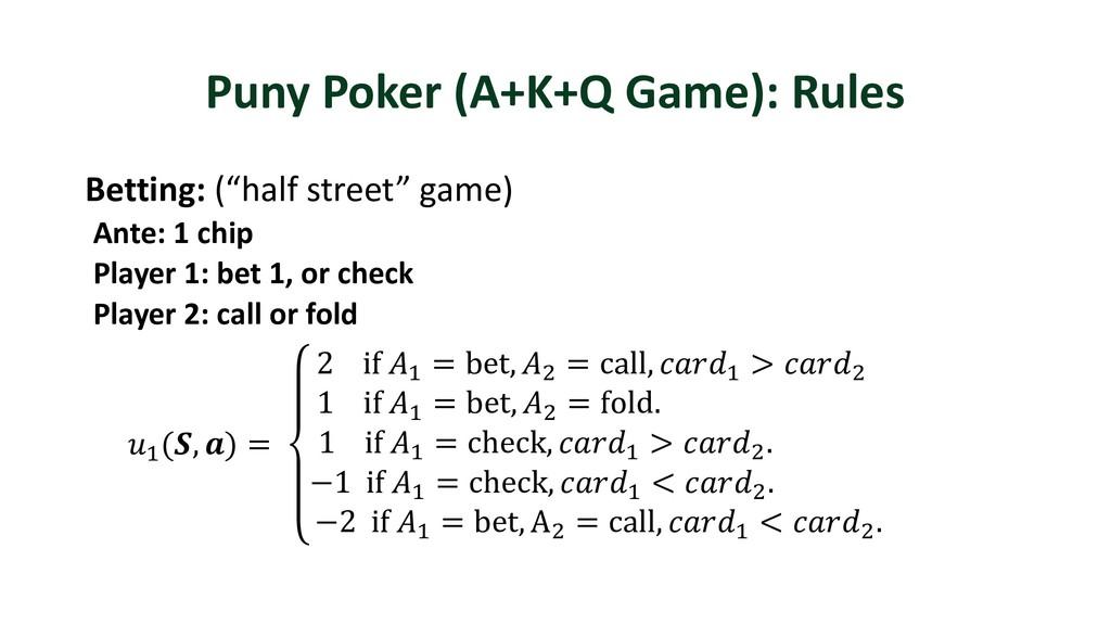 "Puny Poker (A+K+Q Game): Rules Betting: (""half ..."