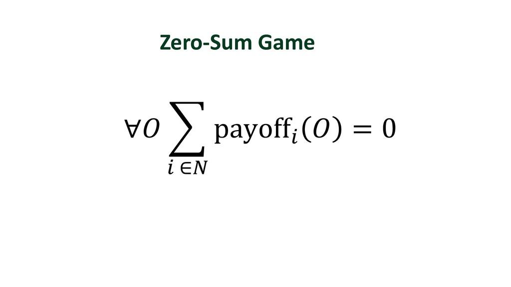 Zero-Sum Game ∀ Š payoff.  = 0 . ∈1