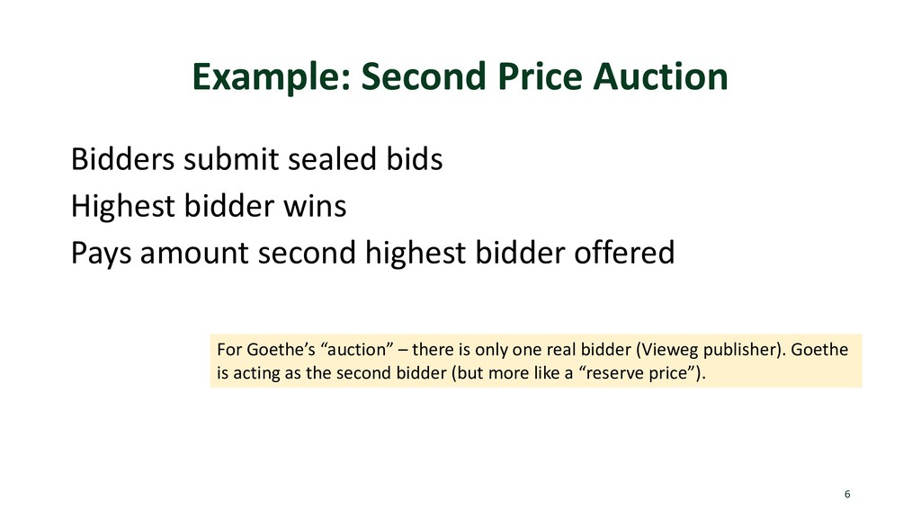Example: Second Price Auction Bidders submit se...