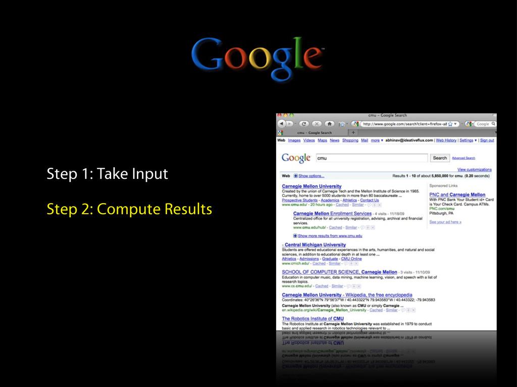 Step 1: Take Input Step 2: Compute Results