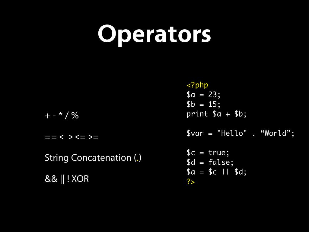 Operators + - * / % == < > <= >= String Concate...