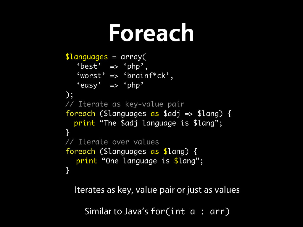 Foreach Iterates as key, value pair or just as ...