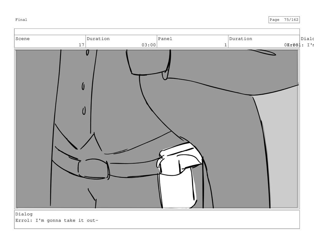 Scene 17 Duration 03:00 Panel 1 Duration 01:00 ...