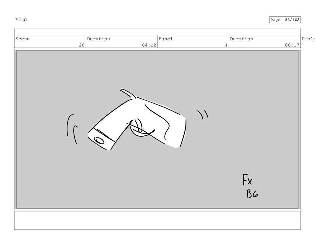 Scene 20 Duration 04:22 Panel 1 Duration 00:17 ...