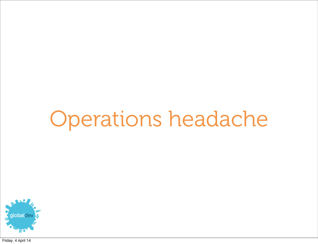 Operations headache Friday, 4 April 14