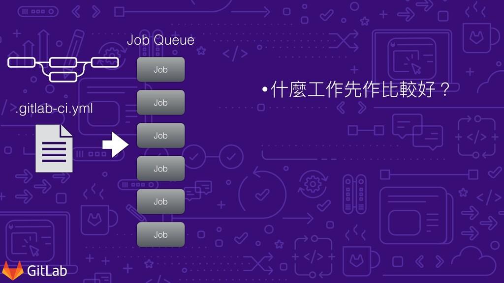 •什麼⼯作先作比較好? .gitlab-ci.yml Job Job Job Job Job ...