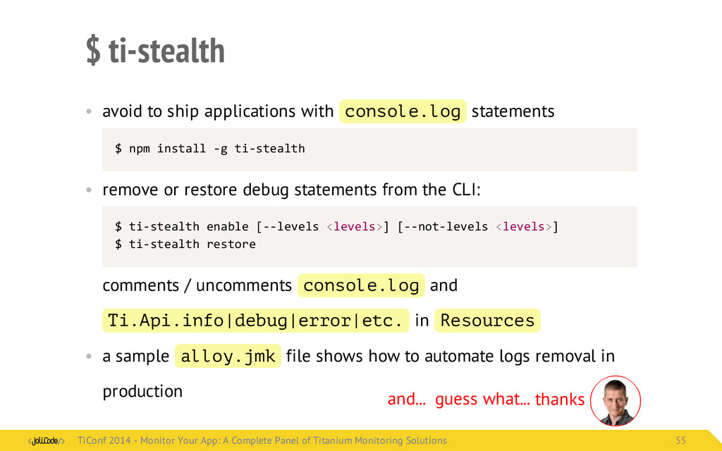 $ ti-stealth • avoid to ship applications with ...