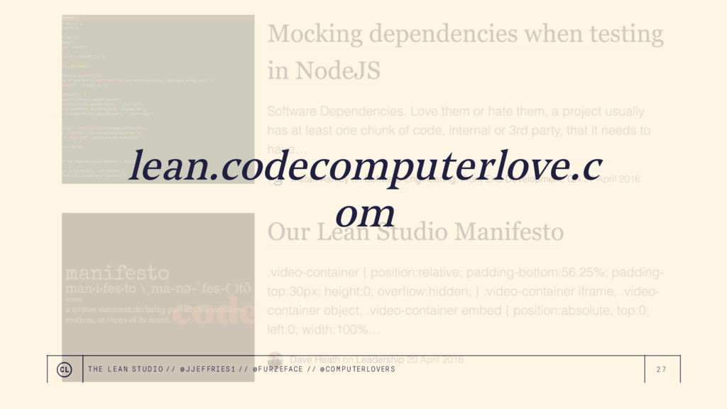 27 lean.codecomputerlove.c om THE LEAN STUDIO /...
