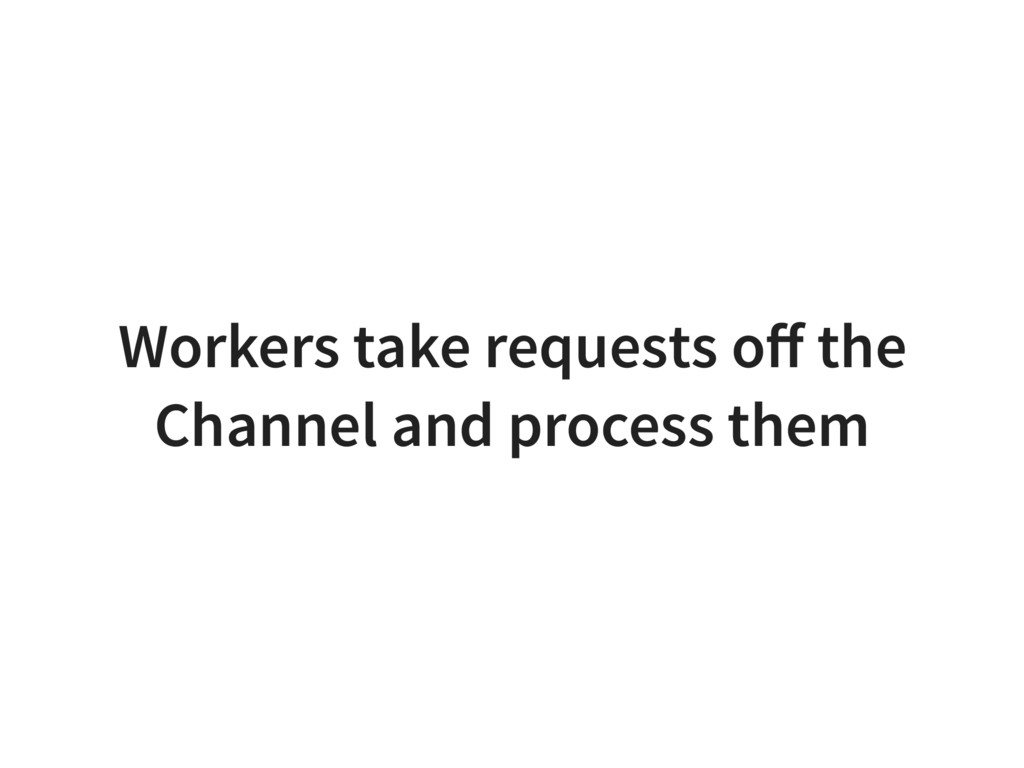 Workers take requests off the Channel and proces...