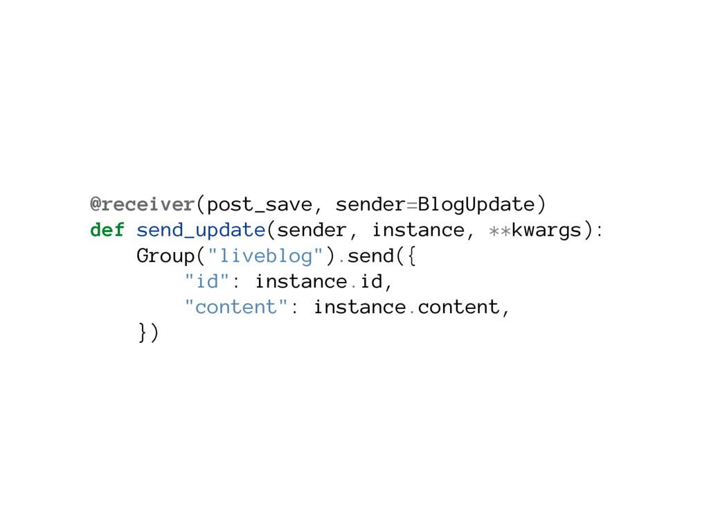 @receiver(post_save, sender=BlogUpdate) def sen...