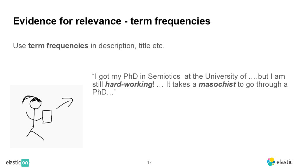 17 Evidence for relevance - term frequencies Us...