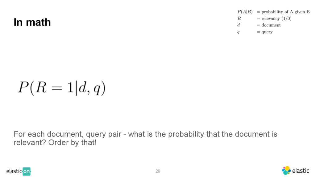 29 In math For each document, query pair - what...